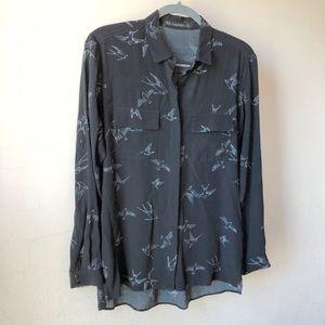 EUC Zara Women's Blue Bird Ho-Lo Hem Blouse Sz XS